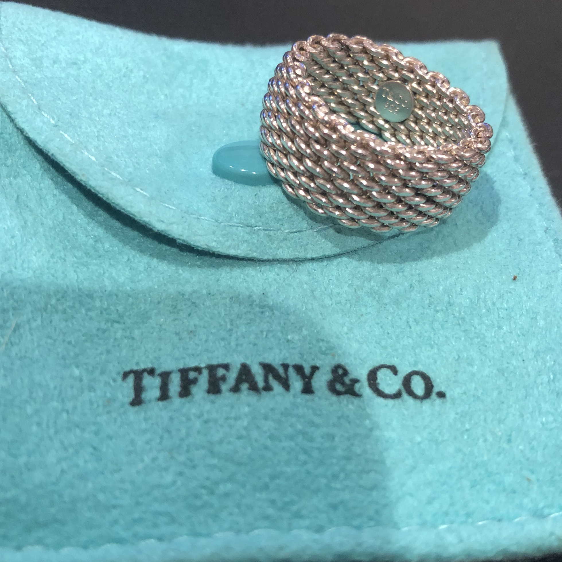 8e99491a77503 Tiffany & Co. 925 sterling silver mesh ring. Size 7.... - Depop