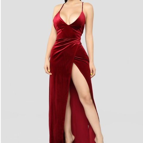 e4809be7986 fashion nova red velvet maxi dress