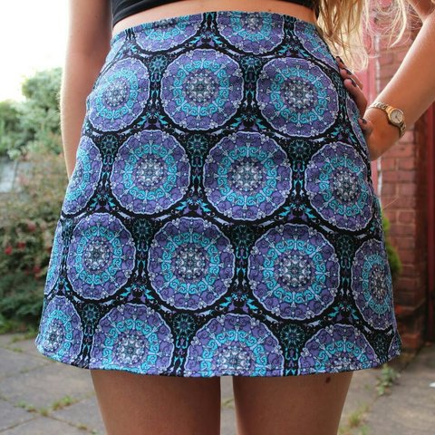 47e4966531 @thisnewoldthing. 3 years ago. Manchester, United Kingdom. Blue motel rocks  mandala a-line skirt