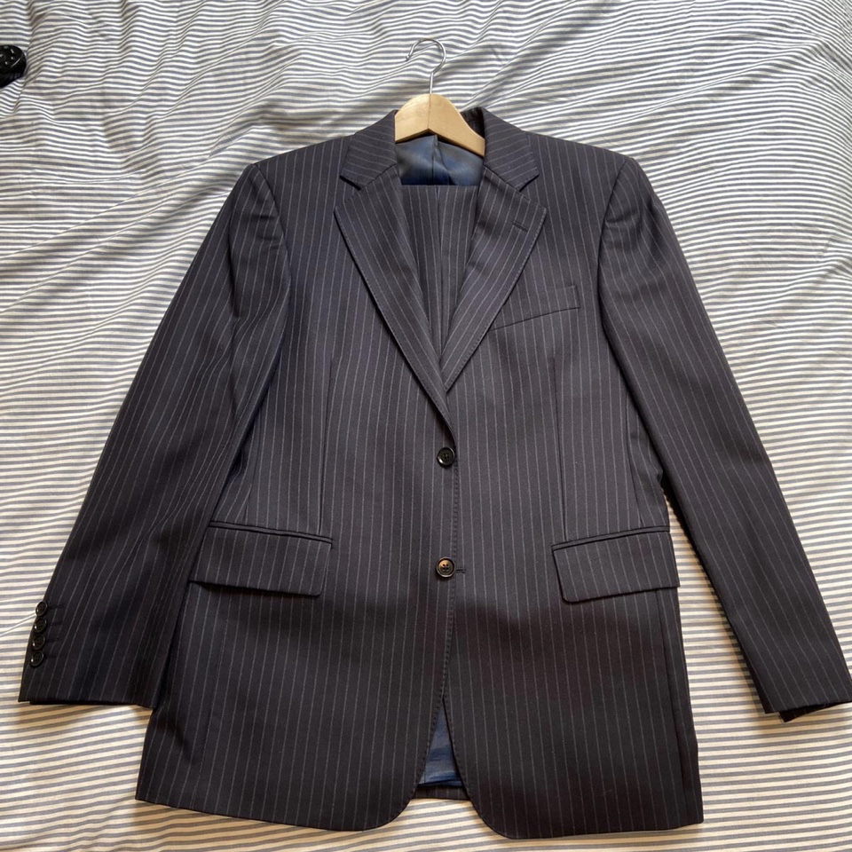 Austin Reed Mens Pin Striped Navy Suit Pure Wool Depop