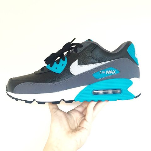 265353eed9 @hookedbhm. 3 years ago. Lichfield, Lichfield, Staffordshire, UK. Nike Air  Max 90 LTR ! Premium Leather Uppers! Black/Grey Blue!