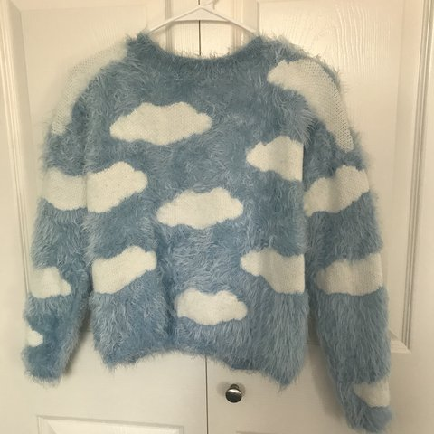 f9c7e0825 super cute fuzzy cloud sweater 😭 sweet baby blue sweater no - Depop
