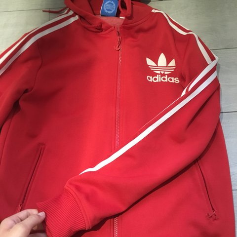 87eb1e1e8 @abbyelland. 10 months ago. United Kingdom. Red Adidas white stripe jumper  / hoodie / jacket men's size small will fit women 8-12 ...