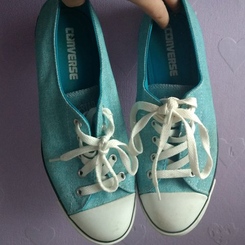 8eb9a0f6c94 All star converse low tops in baby blue Such good condition - Depop
