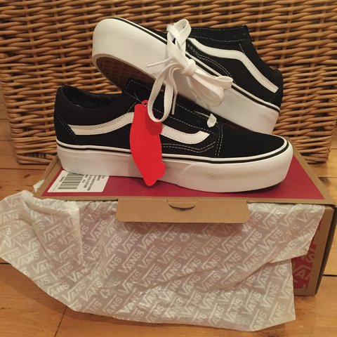 20e42124272a6b New with tags black and white old skool platform vans. Size - Depop