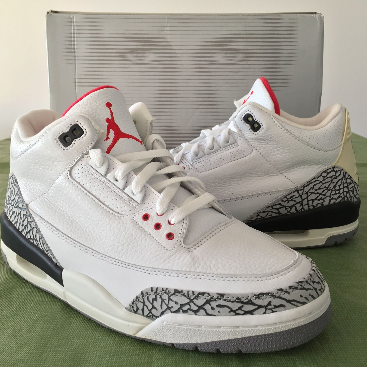 newest 5c127 db180 2003 Nike Air Jordan III 3 White Cement Fire Red - 10.5 - Depop