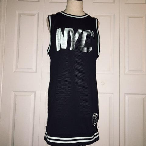 30892af5f7d Black Basketball Jersey Dress With With Side Pipping And And Depop