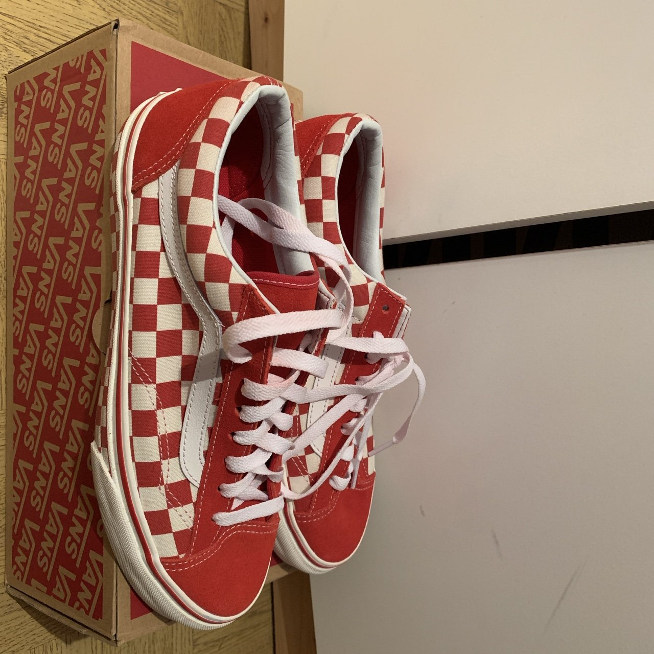 Vans red checkerboard style 36. UK 6.5. Worn once. Perfect - Depop 1b7ea931d