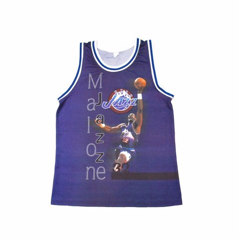 "9d55a6d1c36a  georgeworganuk. yesterday. United Kingdom. 🌊🏀 RARE Vintage 90 s NBA Utah  Jazz ""KARL MALONE"" throwback logo spellout graphic basketball vest jersey  top"