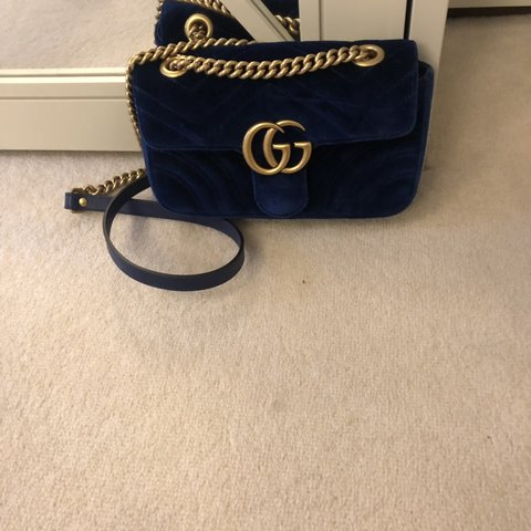 2d94932e9 @lucymorello. 18 minutes ago. London, United Kingdom. Gucci Marmont Mini  blue velvet shoulder bag. Only been worn ...