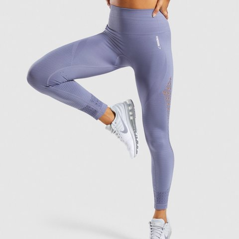 86db8478128d7 GYMSHARK ENERGY SEAMLESS STEEL BLUE Size XS worn a few as - Depop