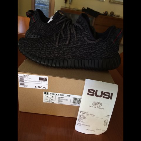 f02a04b831c13 YEEZY BOOST 350 PIRATE BLACK SIZE 9 US - 8 1 2 UK - 42 2 3 - Depop