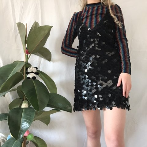 30b8b0db8ff Motel rocks black sequin dress size XS. Brand new with tags. - Depop