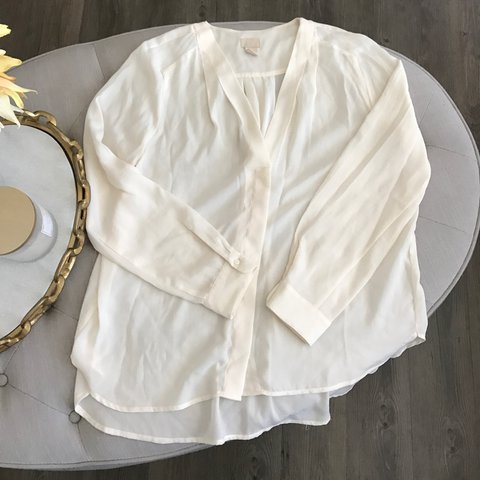 e9b3280fc4 H M long sleeve buttoned up V neck loose flowy blouse shirt - Depop
