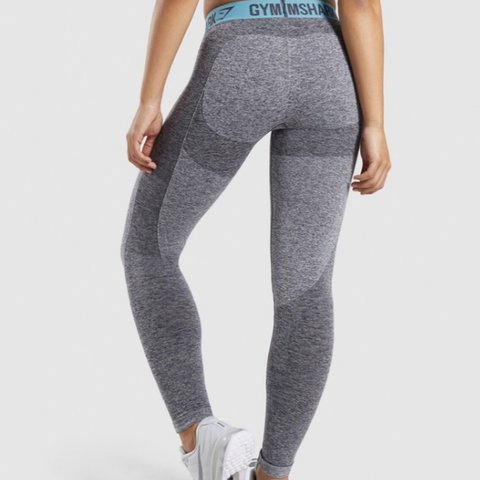 8737f3b00892a @sarahwilliamssss. in 15 hours. United Kingdom. Gorgeous Gym Shark FLEX  Leggings! Grey and Teal. So flattering! Size XS.
