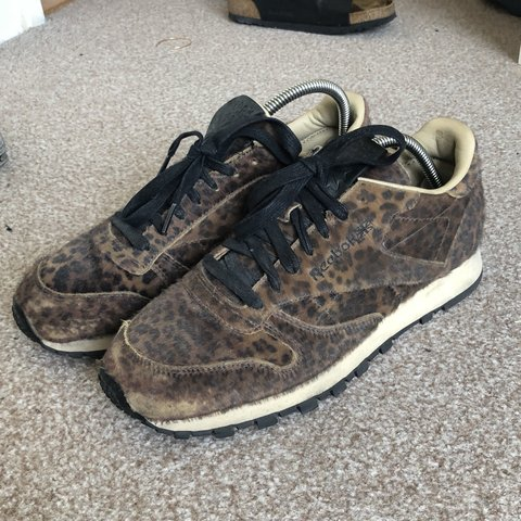 b2a2d041c4f2e Head Porter Plus X Reebok Classic Leather pony hair leopard - Depop
