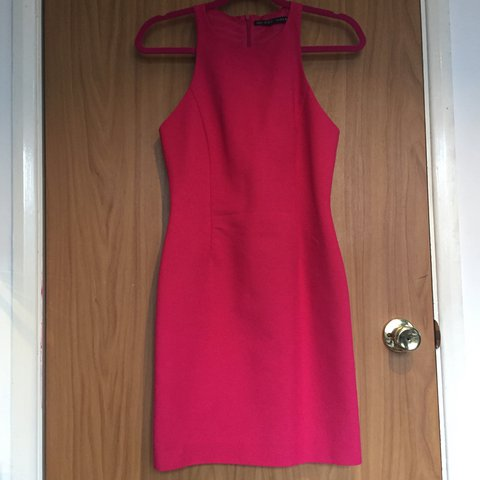 ffa1c773 @victoriahowell90. 2 years ago. United Kingdom. Zara hot pink racer neck  knee length dress. UK size XS ...