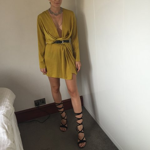 Peace and   +     Love Missguided green gold plunge satin - - Depop 8037a0278