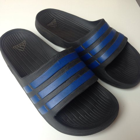 9232b40e2 ADIDAS black and blue sliders