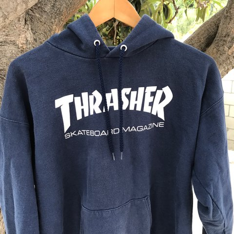d76e8bf47dbb 100% Authentic Thrasher Hoodie in navy colorway. Taken care - Depop