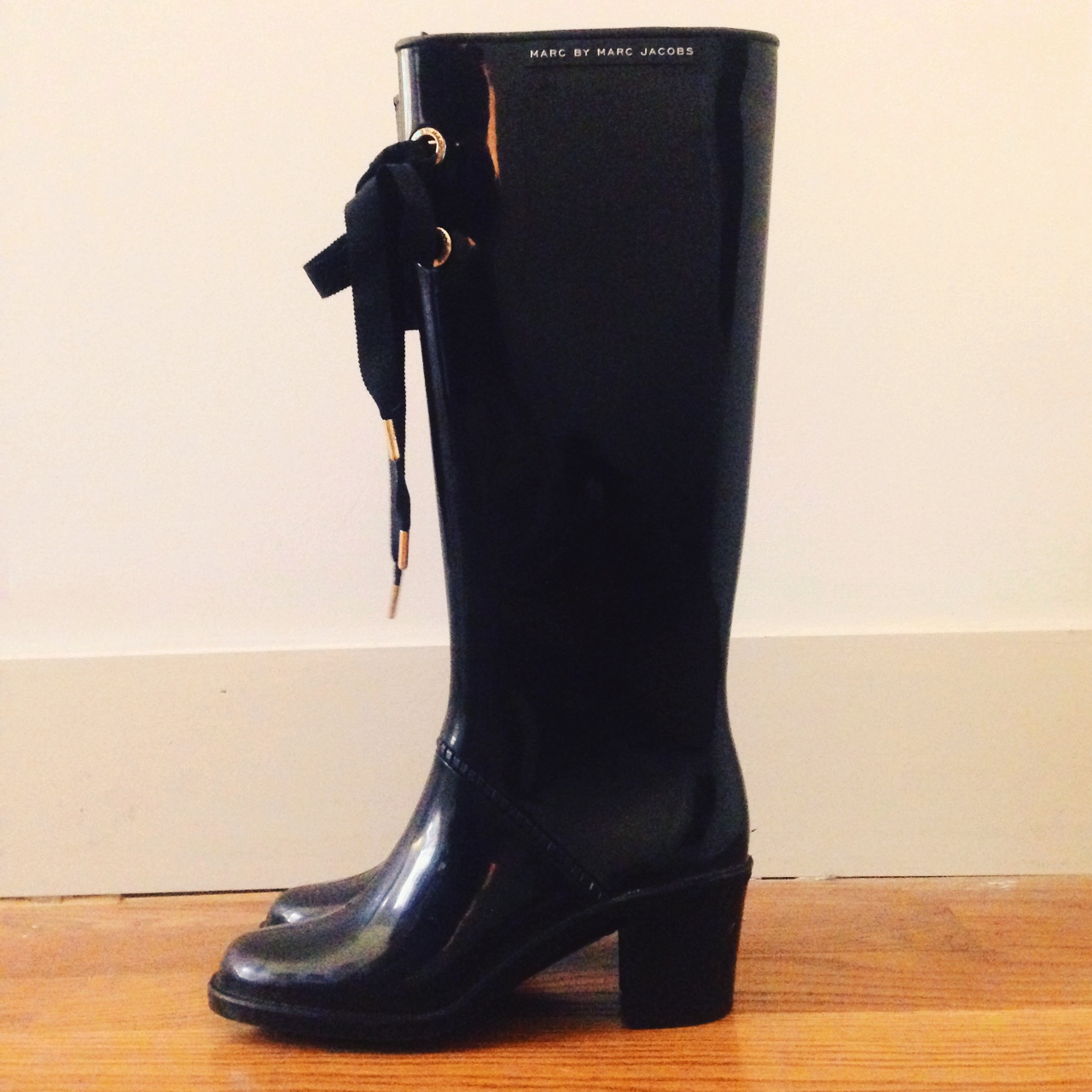 MARC BY MARC JACOBS Black High Heeled Rain Boots | vogue