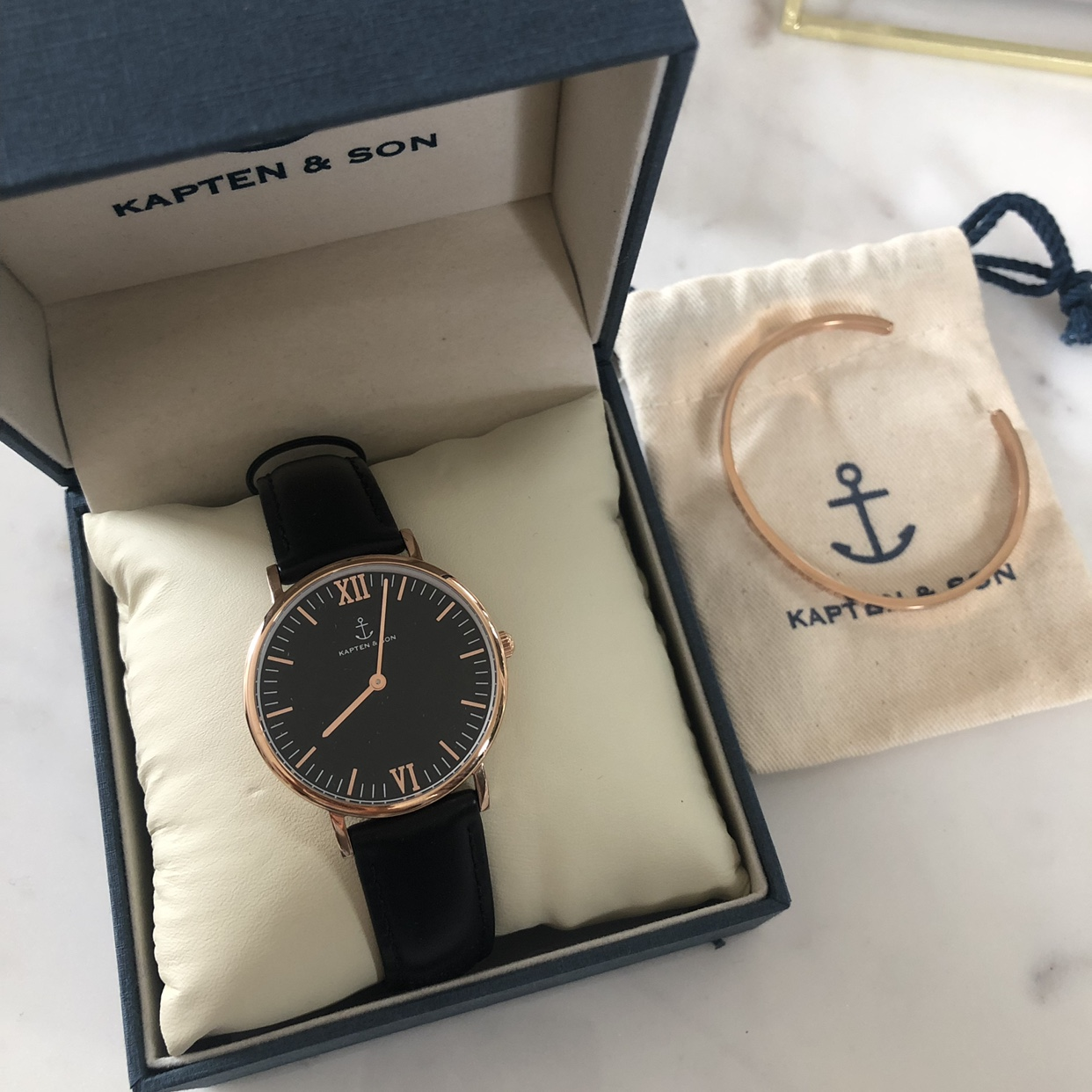 Kapten & Son watch and bangle, black leather strap,    - Depop