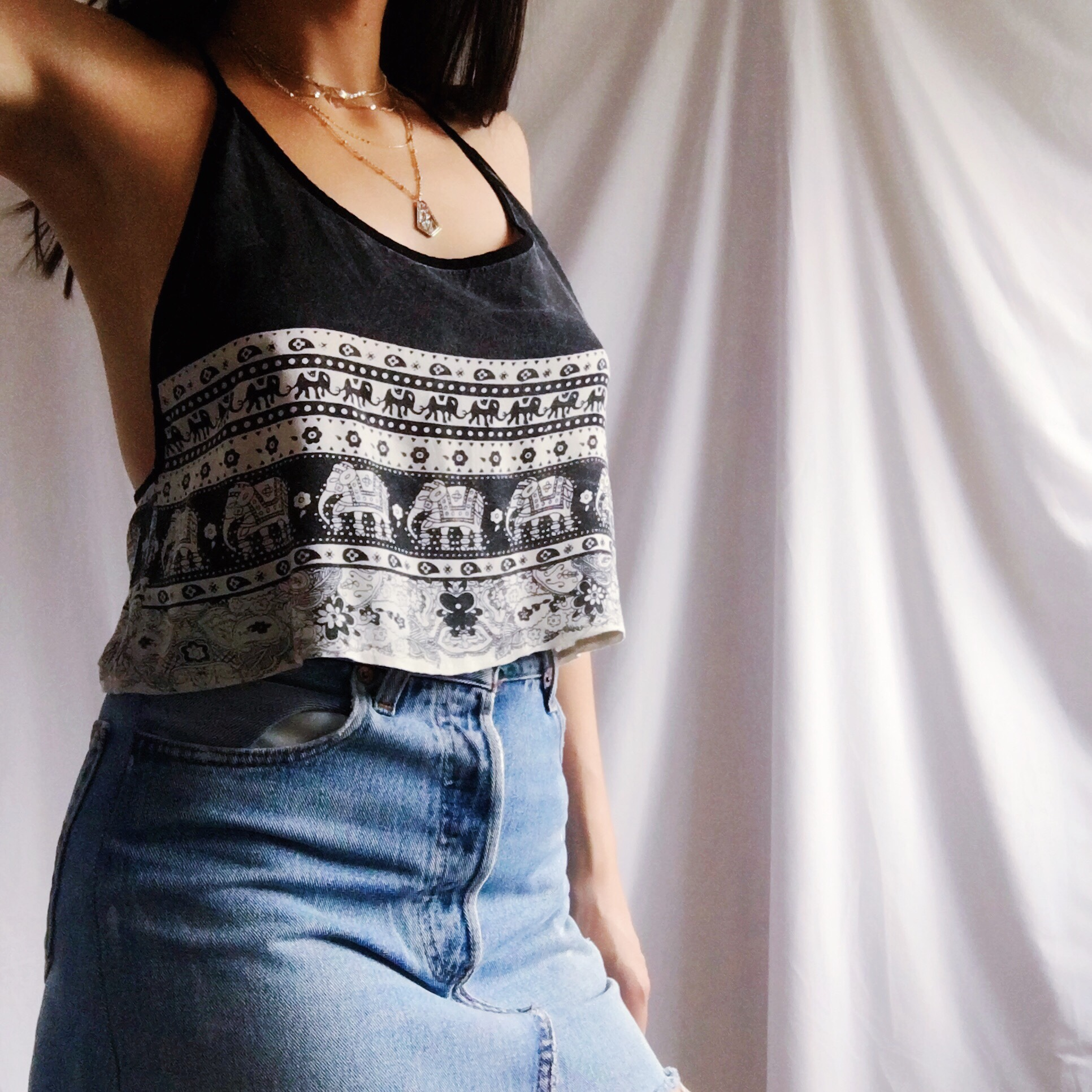 Kiss the Sky festival style crop top. Worn washed Depop