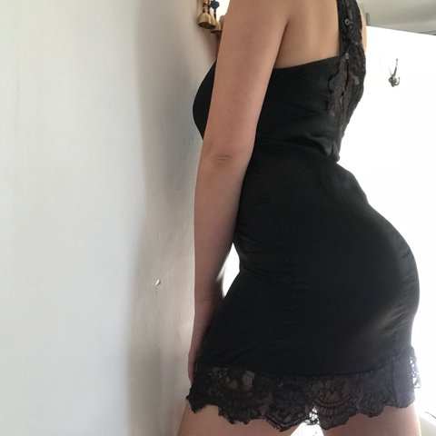 f82d58e746b1 @phoebeenadams. 2 months ago. Devon, UK. Black satin slip dress with lace  detail. Bought from Urban Outfitters ...