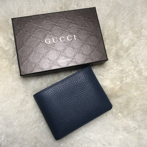 92ba4c7eb28 Gucci Dollar calf wallet in blue. Very good used. It has - Depop