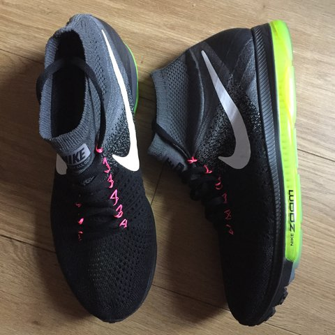 bc61b00b369dc Nike Zoom All Out Flyknit running trainers in black volt new - Depop