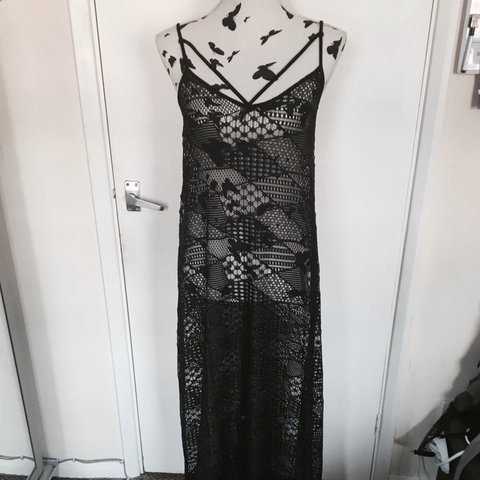 aa5ed4e014b ASOS Lace strap back Black Maxi Dress Crochet Lace Perfect a - Depop