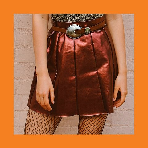 bc0ac80aaa Metallic Burgundy Bronze Vinyl mini skirt 💄 Size: UK 10 Aus - Depop