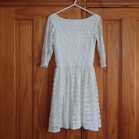 40ae3bf0478 Jane Norman white lace skater dress size 10
