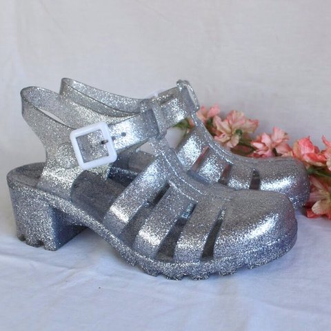 e1f5ae3e166e Silver glitter party shoes 💕 These sparkly clogs are so a a - Depop
