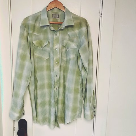 9520e7c3 @kotora. last year. Sierra Madre, United States. Rad Men's vintage lime  green western shirt. Snap buttons