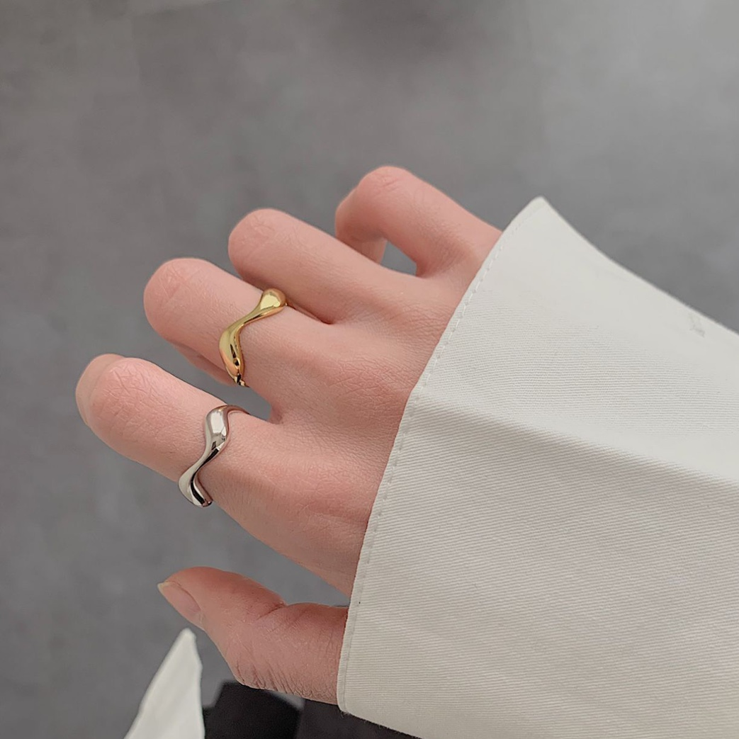Wave design minimalist rings ring of the day adjustable
