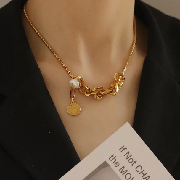 Design necklace baroque pearl gold necklace thick chain choker