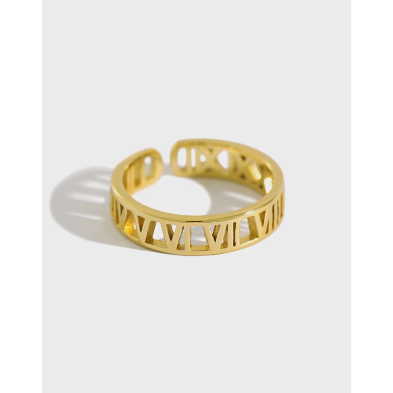 Roman numerals design ring gold ring hollow numerals ring