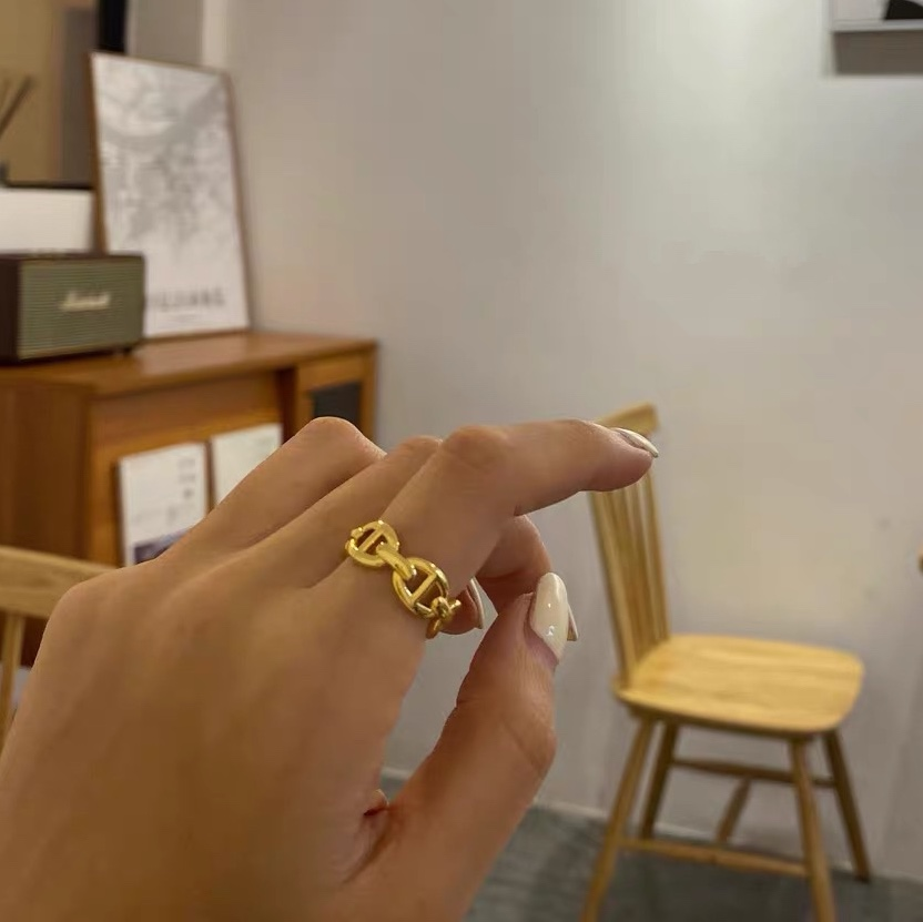 Unisex gold ring silver ring stacking ring -gold one