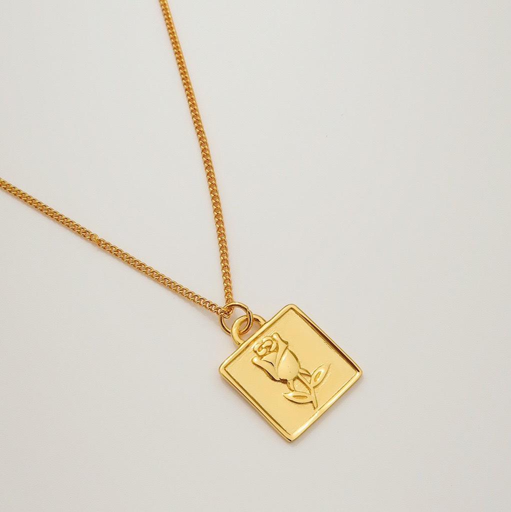 18k gold plated Rose pendant necklace gold necklace necklace