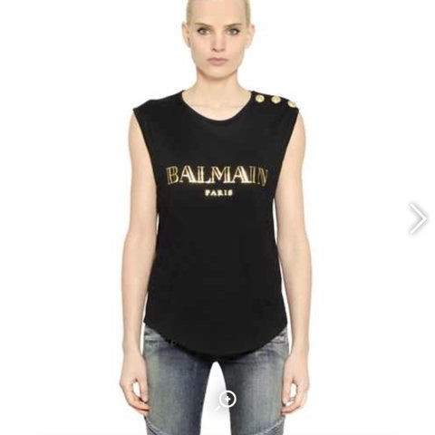 2ff503b720238f Balmain logo printed cotton top size 36 is a size 8 but can - Depop