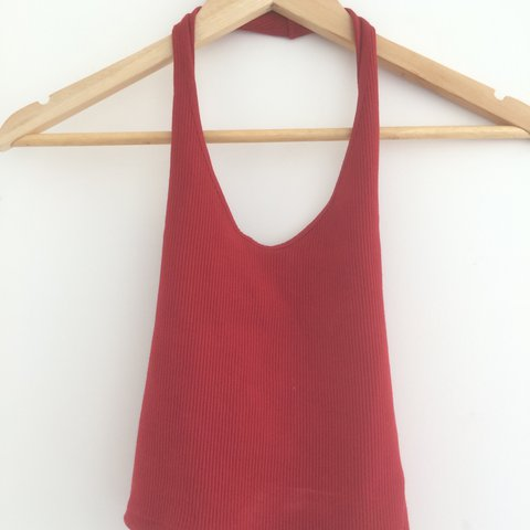 83496c3e6d2 @maiyacr. 2 years ago. Tweed Heads NSW, Australia. Topshop red ribbed  halter neck crop top. Size 8.