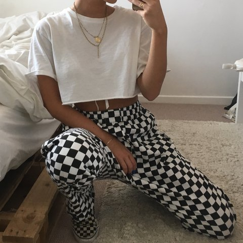 Black N White Checkered Chef Trousers With Depop