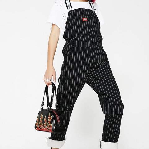 d27e403fa99c Dickies pinstripe overalls dungarees size medium brand new - Depop