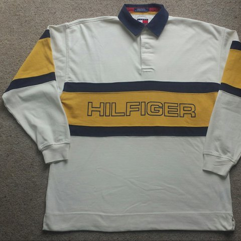 b7ccd5d3745 @mbtommy. 2 years ago. Bristol, UK. Vintage Tommy Hilfiger Long Sleeve Rugby  Polo Shirt Top. Large. Printed spellout ...