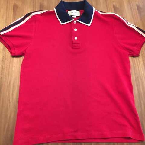 ce05161dad8 Gucci Red Stripe Polo Shirt Bought for £480 - 100% is Large - Depop