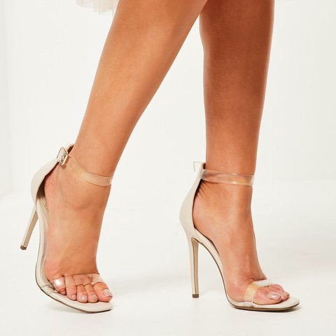 16c827dc1059 Missguided nude clear strap heeled sandals   heels • selling - Depop