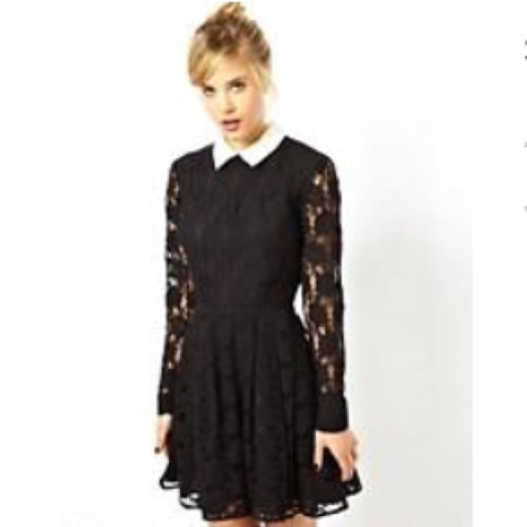 a2bab212f @catriona_anne. 3 years ago. Edinburgh, UK. Black lace skater dress with white  collar ...
