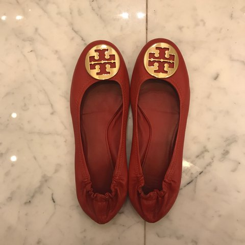 d648e0148 Authentic Tory Burch Reva flats. Red leather with gold logo. - Depop