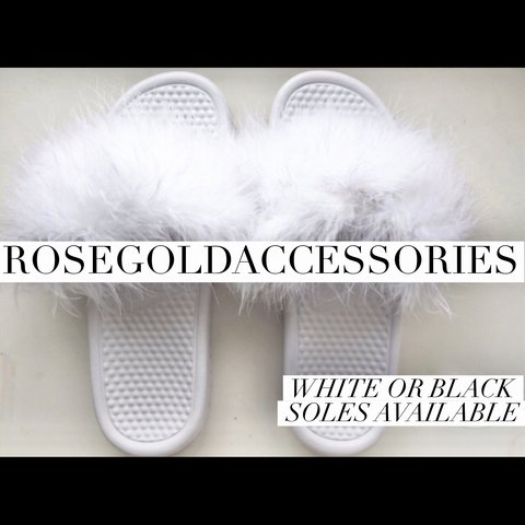 93319f16b07d5 Fur Nike Slides Authentic Nike Benassi Slides white faux fur - Depop